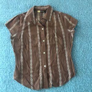 Roxy size medium short sleeves cotton brown